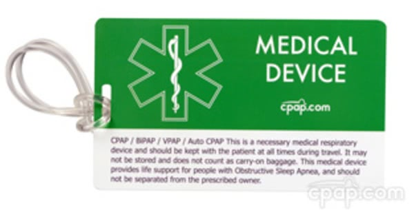 CPAP.com Medical Identification Luggage Tag - Front (Current Version)