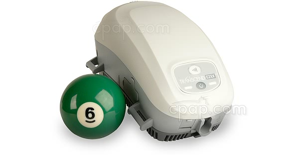 Transcend EZEX Travel CPAP Machine - Shown with Billard Ball (Not Included)